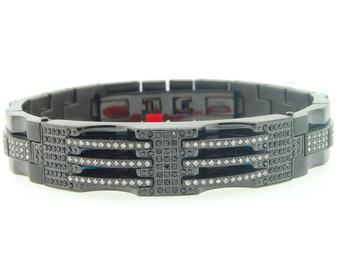 Mens Stainless Steel 1.75 ct. Genuine Black / White Diamond Bracelet Bangle Link