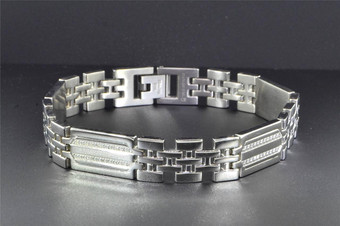 Mens Diamond Stainless Steel Bracelet High Polished Fancy Links 8.75 inch