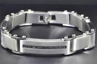Black Diamond Mens Stainless Steel Bracelet Brushed Fashion Link 0.50 ct.