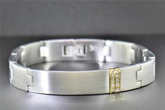 Stainless Steel Mens Diamond Round Cut Channel Set Link Bracelet 11mm, 0.25 Ct.