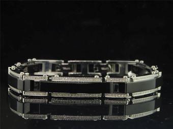 Mens Black PVD Stainless Steel 1.25 Ct. Round White Diamond Bangle Link Bracelet