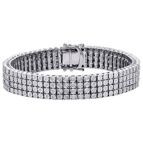 .925 Sterling Silver 4 Row Prong Set Diamond Bracelet 8.50"