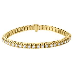 10K Yellow Gold Round Solitaire Diamond 4 Prong Tennis Bracelet 5.50mm 5.60 Ct.