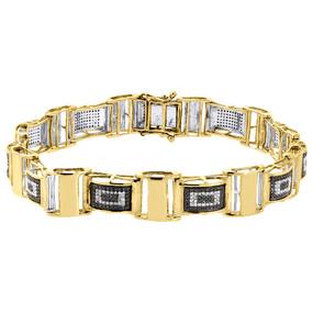 "Black Diamond Statement Bangle Bracelet Yellow Gold 8.5"" Pave Domed Link 1.27 Ct"