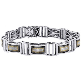 "Black And Yellow Diamond Bracelet White Gold 8.5"" Pave Bangle Link 2.03 Ct."