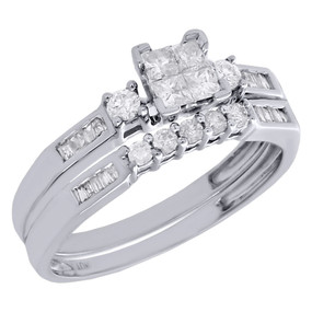 10K White Gold Princess Diamond Bridal Set Engagement Ring + Wedding Band 1/2 Ct