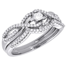 10K White Gold Princess Cut Infinity Bridal Set Diamond Wedding Ring 0.33 CT.