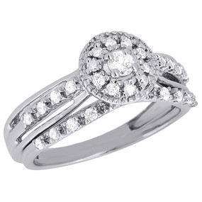 10K White Gold Bridal Set Round Cut Diamond Wedding Engagement Ring 0.34 Ct.