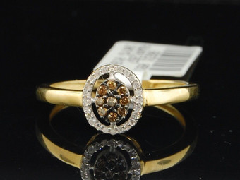 10K LADIES YELLOW GOLD CHAMPAGNE BROWN & WHITE DIAMOND ENGAGEMENT WEDDING RING