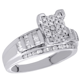 .925 Sterling Silver Round & Baguette Diamond Rectangle Engagement Ring 0.50 Ct.