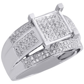 10K White Gold Ladies Genuine Diamond Wedding Engagement Ring Split Shank 1/2 Ct
