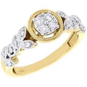 10K Yellow Gold Diamond Leaves Engagement Ring Filigree Round Halo Top 0.25 Ct.