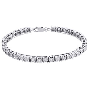 1 Row Genuine Diamond Tennis Bracelet Miracle Set 925 Sterling Silver 7"