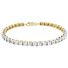 1 Row Real Diamond Tennis Bracelet Miracle Set Yellow Sterling Silver 7"