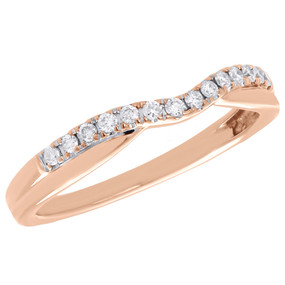 10K Rose Gold Diamond Enhancer Wrap Jacket Wedding Contoured Single Ring 0.13 Ct