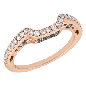 14K Rose Gold Brown Diamond Solitaire Engagement Ring Ladies Enhancer 0.33 Ct.