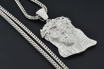 10K White Gold Diamond Mini Jesus Piece Head Pendant 1.40 Ct. with Franco Chain