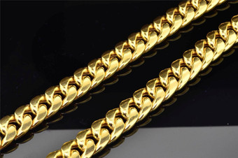 10K Heavy 11.22MM Yellow Gold Miami Cuban Link Franco Chain Necklace 34 Inch