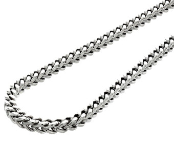 10k Real White Gold 3.5 MM Franco Box Cuban Chain Necklace 24 Inch