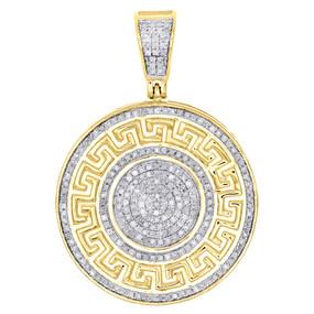 10K Yellow Gold Diamond Greek Key Medusa Medallion Pendant Pave Charm 0.58 Ct.