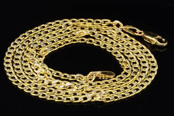 10K Mens 2.5mm Yellow Gold Diamond Cut Miami Pave Cuban Chain Necklace 20 Inch