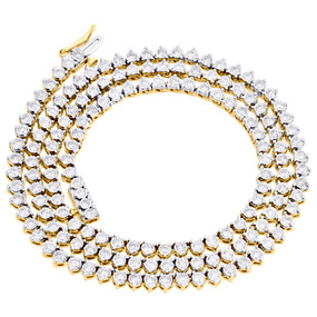"""10K Yellow Gold Diamond Necklace Martini 3 Prong 4.5mm Tennis Chain 22"""" 