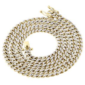 "10K Yellow Gold Genuine Diamond Miami Cuban Chain 6.50mm 26"" Necklace 2.70 Ct."