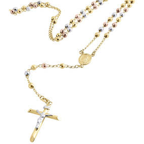 "10K Gold Virgin Mary Tri Color Rosary Diamond Cut Bead 4mm Necklace Chain 26""+4"""