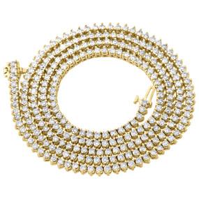 "10K Yellow Gold Diamond Chain Martini Prong Set 1 Row 3.50mm 27"" Necklace 12 Ct."