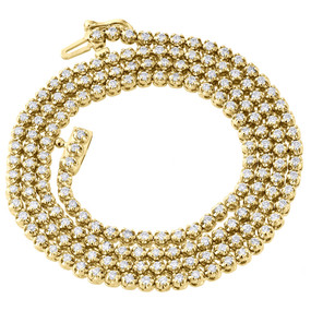 10K Yellow Gold Mens Prong Set 1 Row Genuine Diamond Chain Necklace 4.50 Ct.