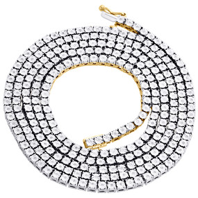 """1 Row Necklace Genuine Diamond Link Chain Mens 925 Sterling Silver 36"""" 