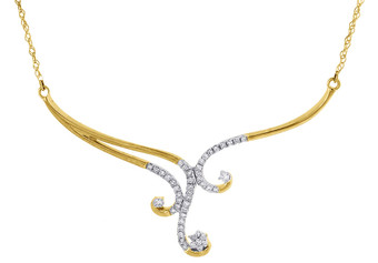 "Diamond Designer Necklace 18"" Ladies 10K Yellow Gold Round Pave Pendant 0.25 Tcw"