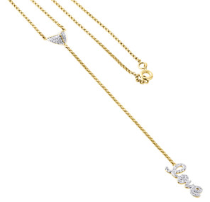 "14K Yellow Gold Diamond Rosary Necklace 19.60"" Heart Love Charm Pendant 0.23 ct."