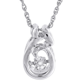 Dancing Diamond Necklace .925 Sterling Silver Mother Daughter Pendant w/ Chain