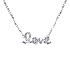 14K White Gold Genuine Diamond LOVE Script Letter Necklace Pendant Charm 0.12 Ct