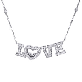 14K White Gold Diamond LOVE Statement Necklace Pendant Charm  0.58 CT.