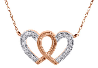 "Diamond Double Heart Necklace 18"" Ladies 10K Rose Gold Round Pendant 0.10 Tcw."