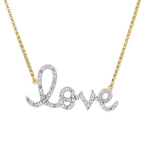 14K Yellow Gold Diamond Statement LOVE Script Letter Necklace Charm 0.33 Ct.
