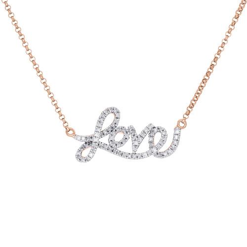 14k rose gold diamond statement love script letter necklace pendant image 1 aloadofball Gallery