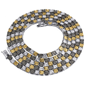 "1 Row White Diamond Necklace Chain Mens 925 Sterling Silver 36"" Tri-Color .50 Ct"