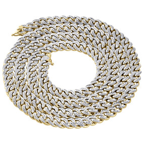 "10K Yellow Gold Genuine Diamond Miami Cuban Chain 7.50mm 32"" Necklace  5 Ct."