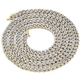 "10K Yellow Gold Genuine Diamond Miami Cuban Chain 7.50mm 32"" Necklace  5 Ct."