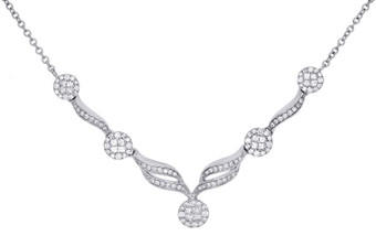 "14K White Gold Princess Diamond 'Y' Drop Braided & Swirled Necklace 18"" 1 Ct."