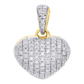 "10K Yellow Gold Real Diamond Heart Shaped Dome Pendant 0.60"" Fancy Charm 0.16 CT"