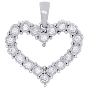 "10K White Gold Real Diamond Heart Shaped Miracle Set Pendant 0.70"" Charm 1/5 CT."