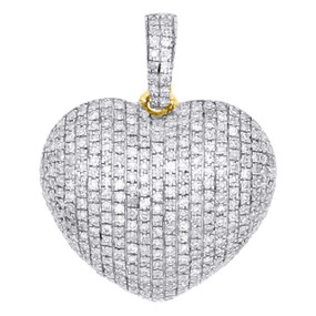 "10K Yellow Gold Real Diamond Heart Shaped Dome Pendant 0.80"" Fancy Charm 1/2 CT."