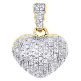 "10K Yellow Gold Real Diamond Heart Shaped Dome Pendant 0.60"" Fancy Charm 0.21 CT"