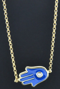 Hamsa Hand Diamond Necklace 10K Yellow Gold Khamsa Palm Shape Amulet Blue Enamel