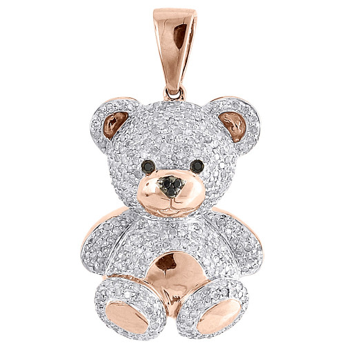 Diamond teddy bear pendant ladies 10k rose gold round pave 3d charm image 1 aloadofball Gallery