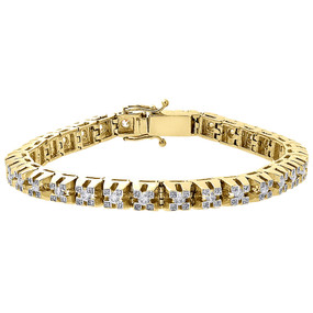 10K Yellow Gold Raised 3D Link Solitaire Round Diamond Bracelet 6.8mm 3.85 Ct.